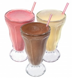 protein shake with straw